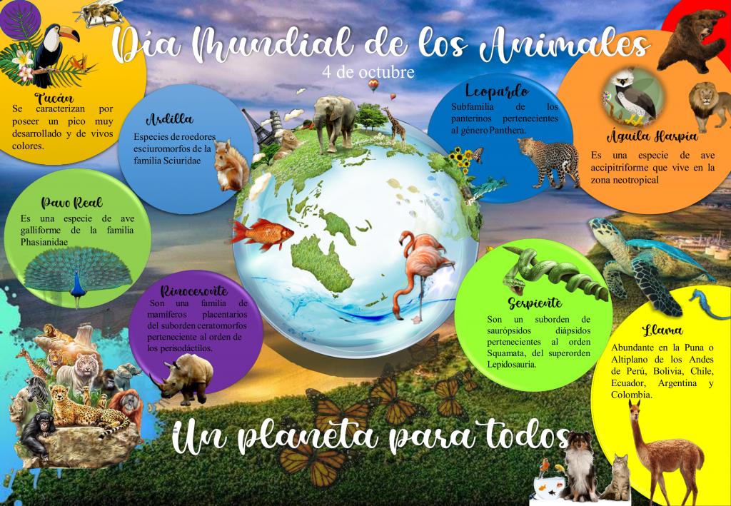 """Proyecto Primates Panamá se une a esta conmemoración anual con el despliegue de un afiche alusivo, que ha sido seleccionado en concurso. Este año ha sido galardonado el arte confeccionado por la estudiante universitaria, Patricia Paola Pimentel Mendoza, cuyo arte destaca muchos aspectos claves de los animales como la diversidad y muestra a la Tierra y sus hábitat con presencia humana como parte de un todo, similar al concepto """"un planeta para todos""""."""